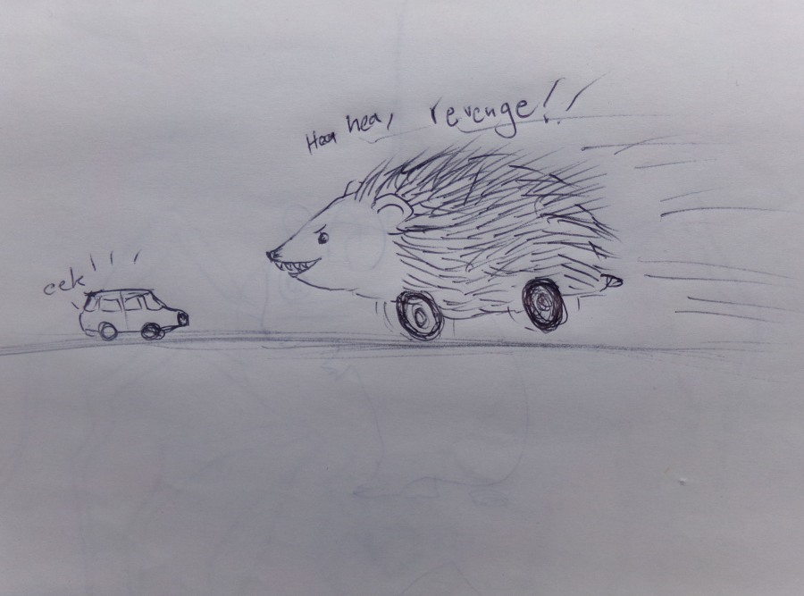 Hedgehog on wheels