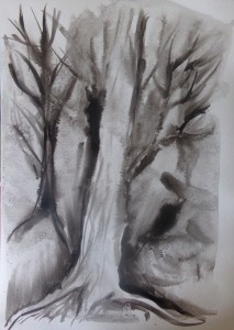Ink painting , Trees