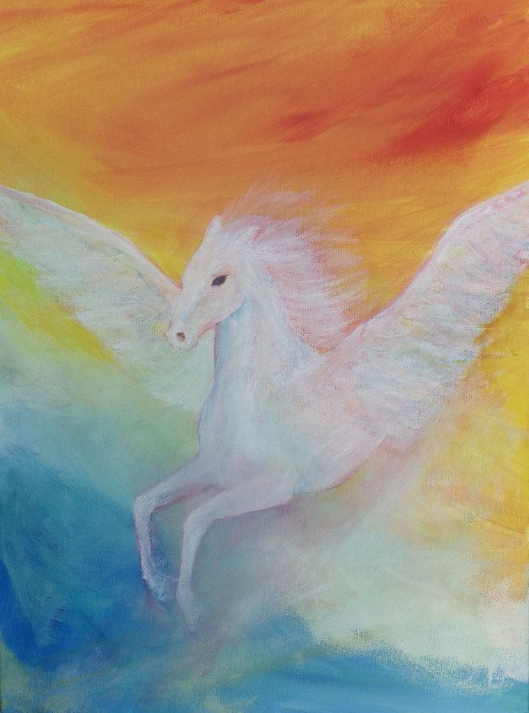 Pegasus, acrylic painting by AnneMarie Foley