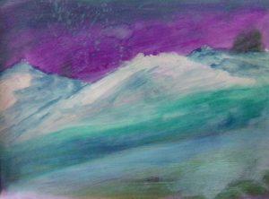 Purple starry sky