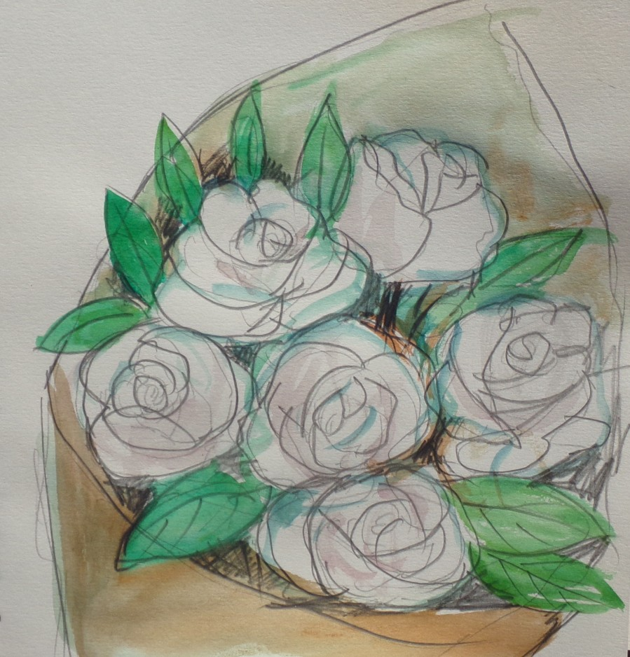 Sketch 198 Bouquet of white roses in a dream