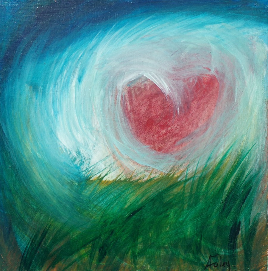 My heart in the wild,abstract landscape by AnneMarie Foley