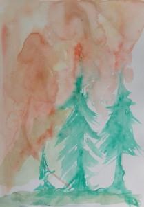 Sketch 200 pine trees red sky