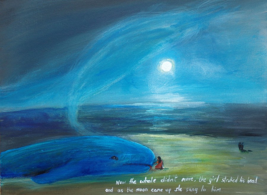 The whale on the shore acrylic on canvas 30cm x 40cm