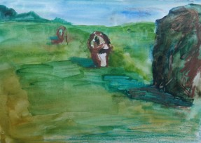 Avebury, watercolour by AnneMarie Foley