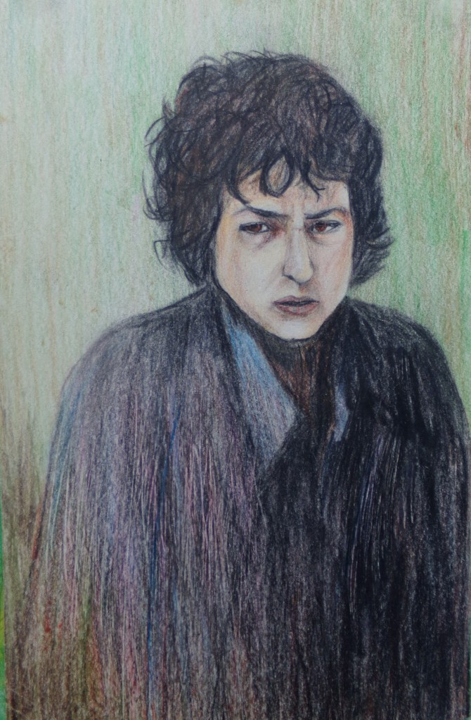 Bob Dylan, pencil drawing by AnneMarie Foley