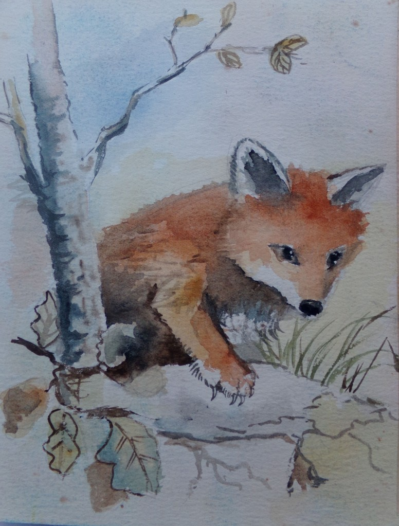 Fox cub watercolour