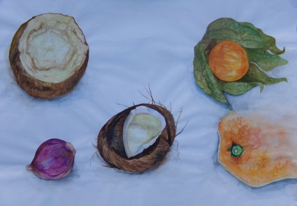 Fruit and veg watercolour by AnneMarie Foley