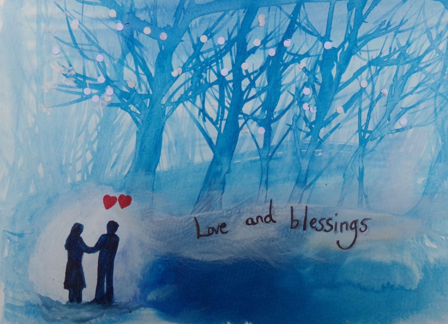 Love and blessings blue trees by AnneMarie Foley