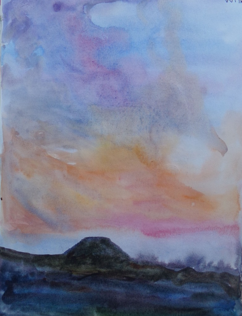 Silbury Hill, Wiltshire watercolour by AnneMarie Foley