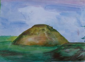 Silbury Hill, watercolour by AnneMarie Foley