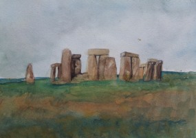 Stonehenge, watercolour by AnneMarie Foley
