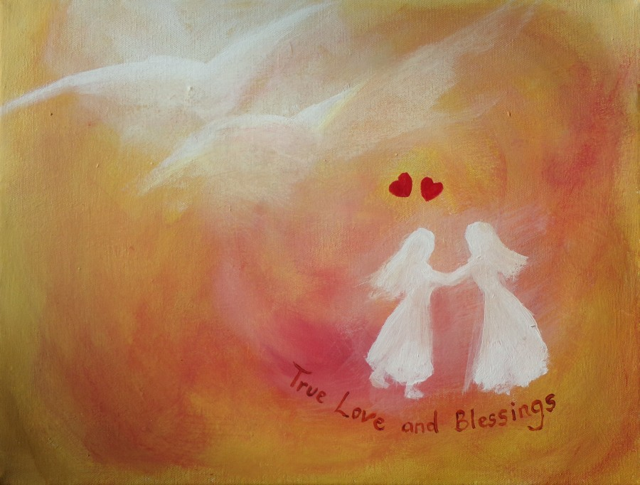 True love and blessings, wedding gift painting for same sex couples, by AnneMarie Foley