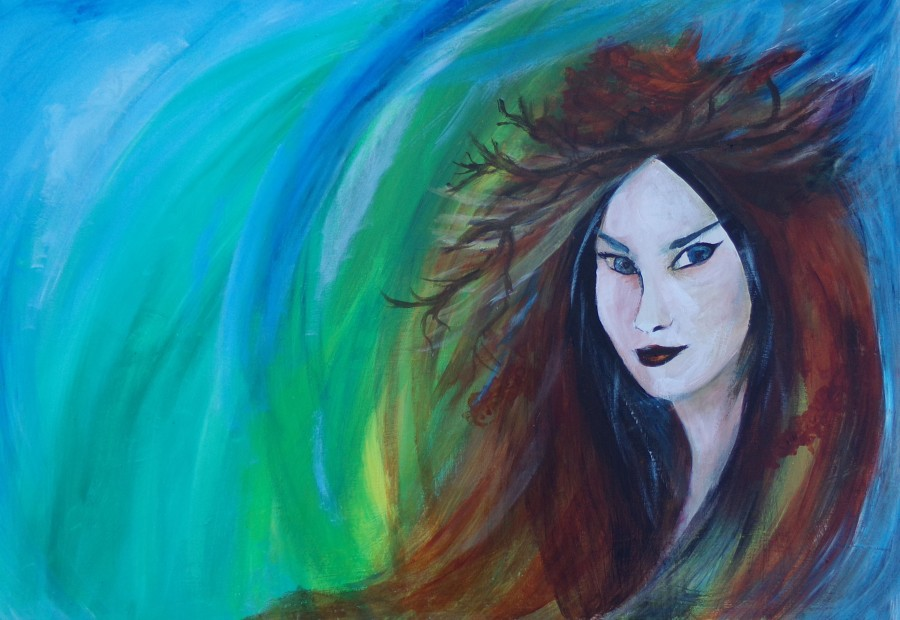 Elven queen in autumn, painting for interiors by AnneMarie Foley