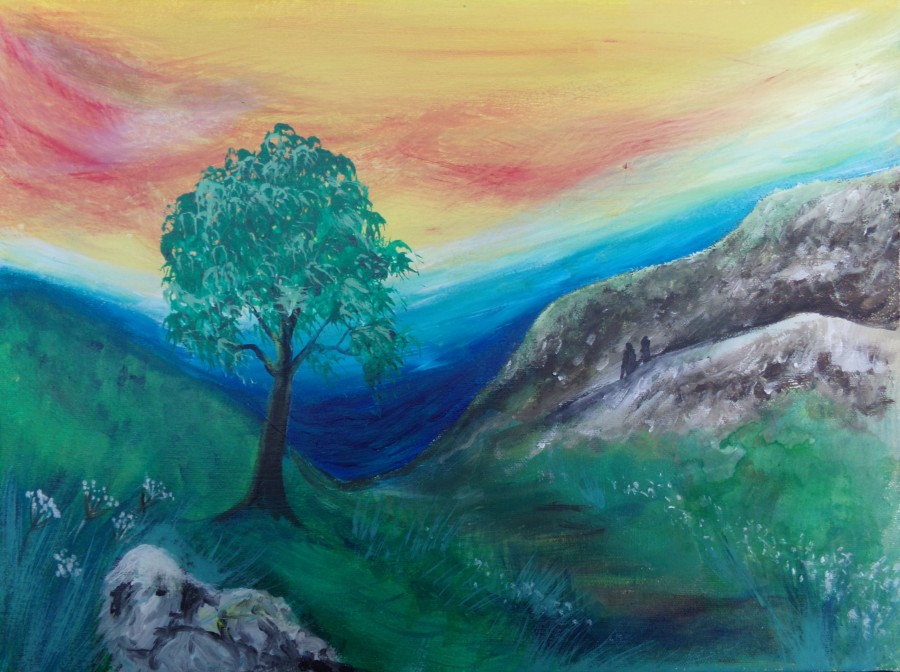 Sleeping stone giant, painting by AnneMarie Foley