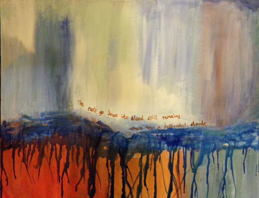 The roots go down, abstract painting with poem by AnneMarie Foley
