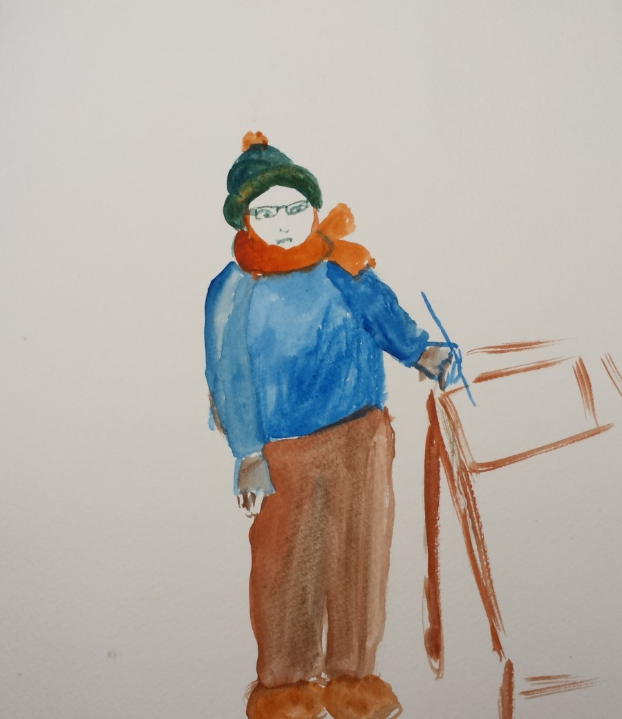 Me painting indoors feeling cold by AnneMarie Foley