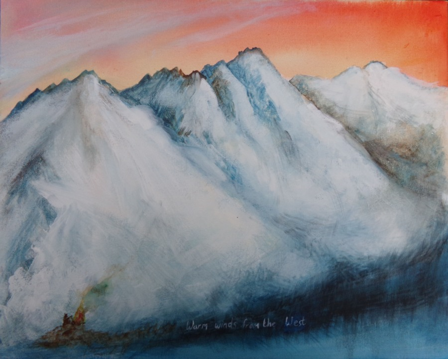 Mountains and warm winds acrylic on canvas by AnneMarie Foley