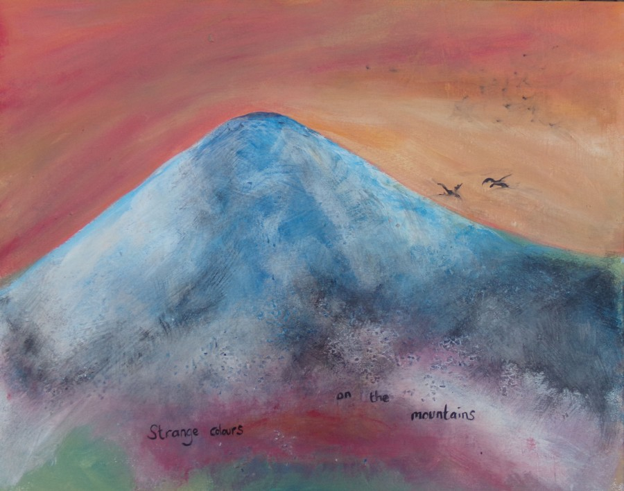 Strange colours on the mountains, painting by AnneMarie Foley