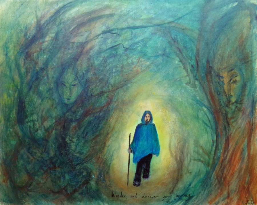 Wander and discover your journey, painting by AnneMarie Foley
