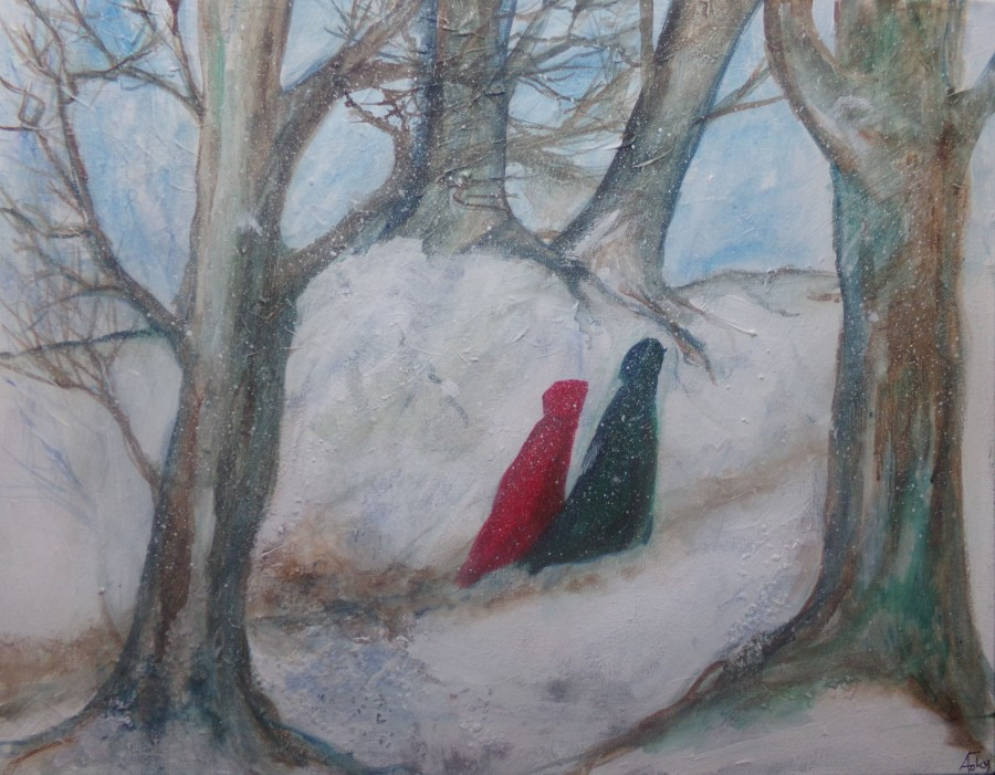 Two travelers in the snow acrylic on canvas painting by AnneMarie Foley