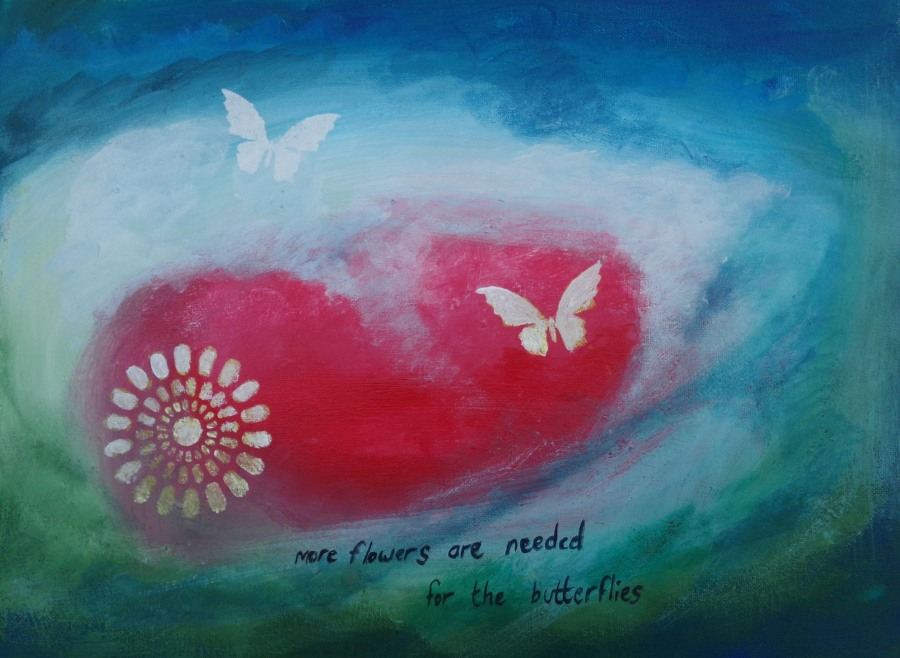 More flowers for the butterflies, acrylic painting by AnnMarie Foley