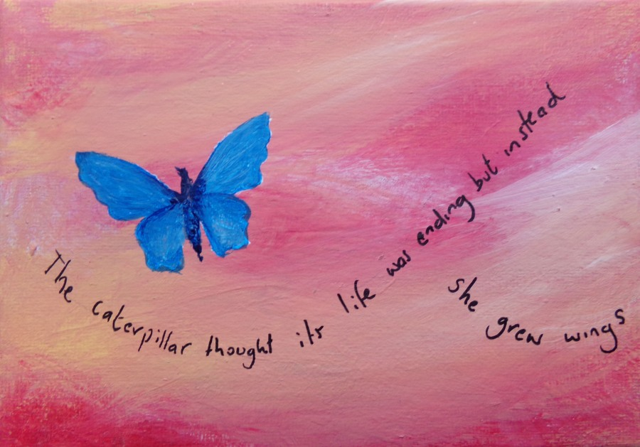 The caterpillar grew wings, acrylic painting by AnneMarie Foley