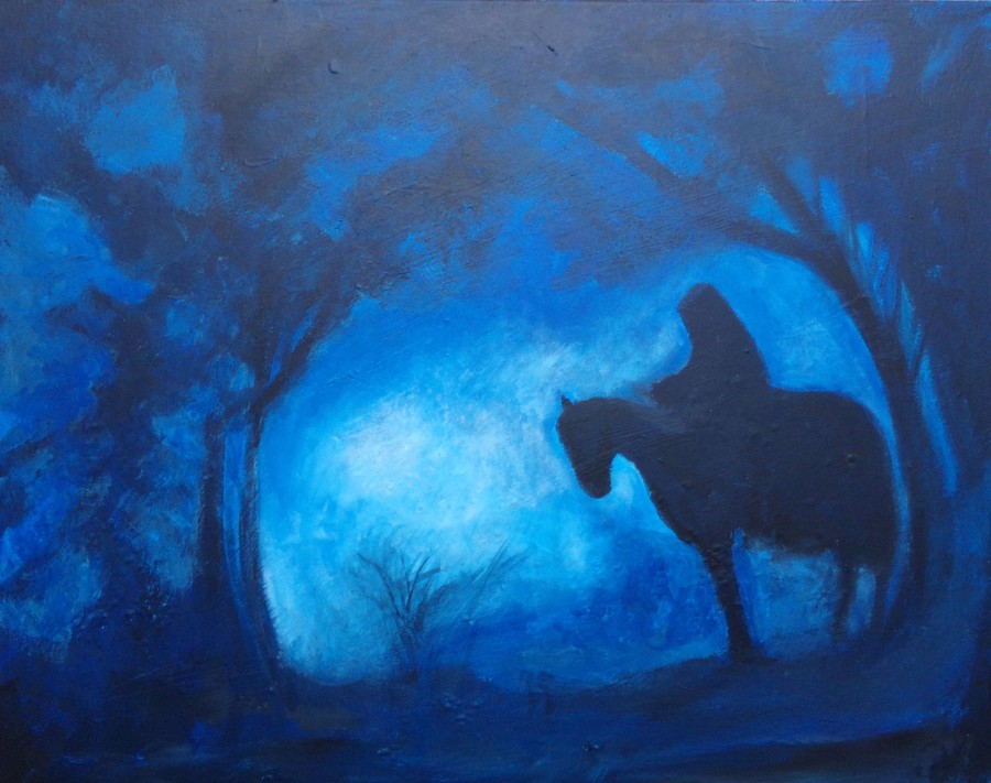 The Nazgûl (or the Daily Mail reporter, acrylic painting by AnneMarie Foley