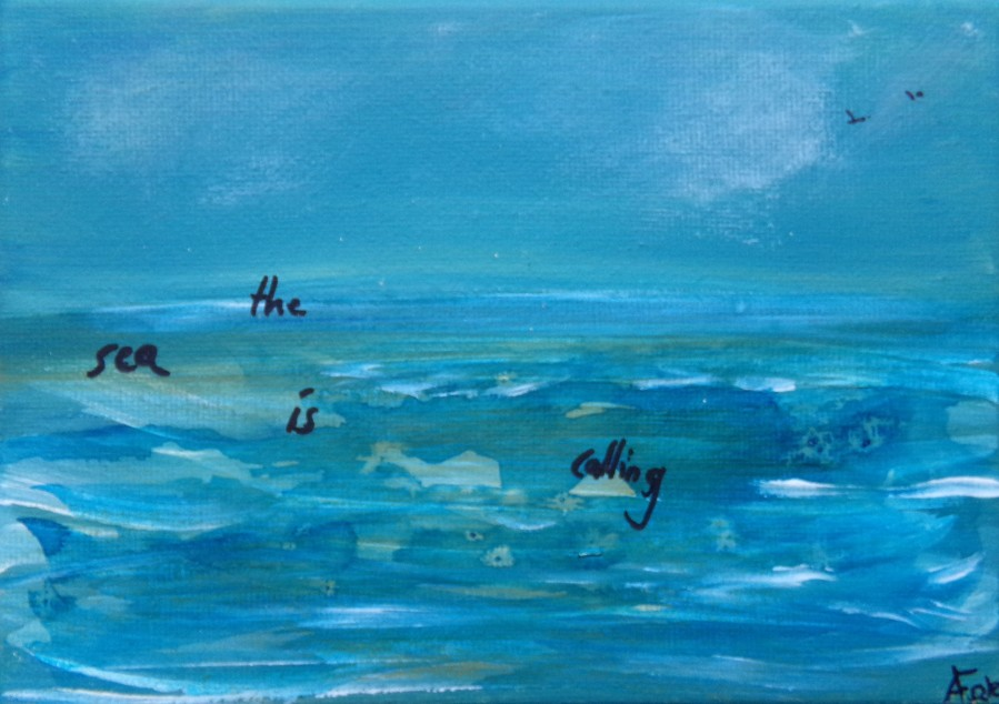 "The sea is calling, acrylic on canvas  5"" x 7""   £15."
