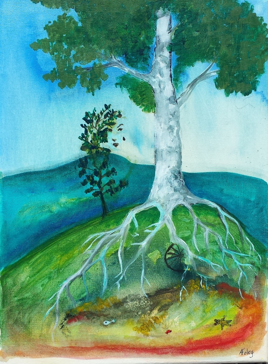 Birch tree on landfill, acrylic painting on canvas by AnneMarie Foley
