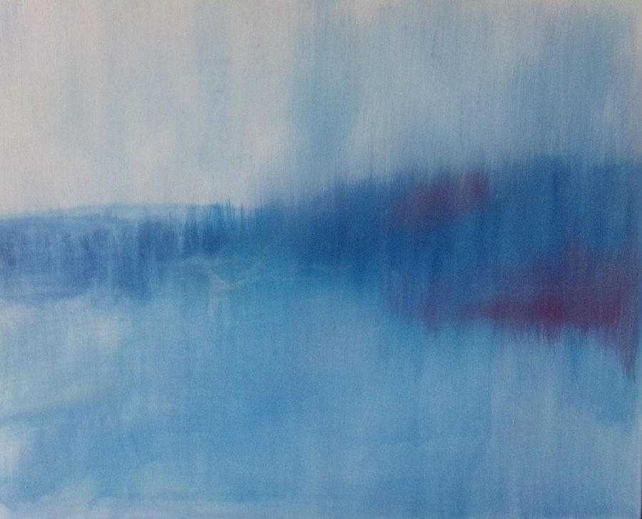 Ethereal landscape, Abstract blue 1. acrylic pasinting by AnneMarie Foley