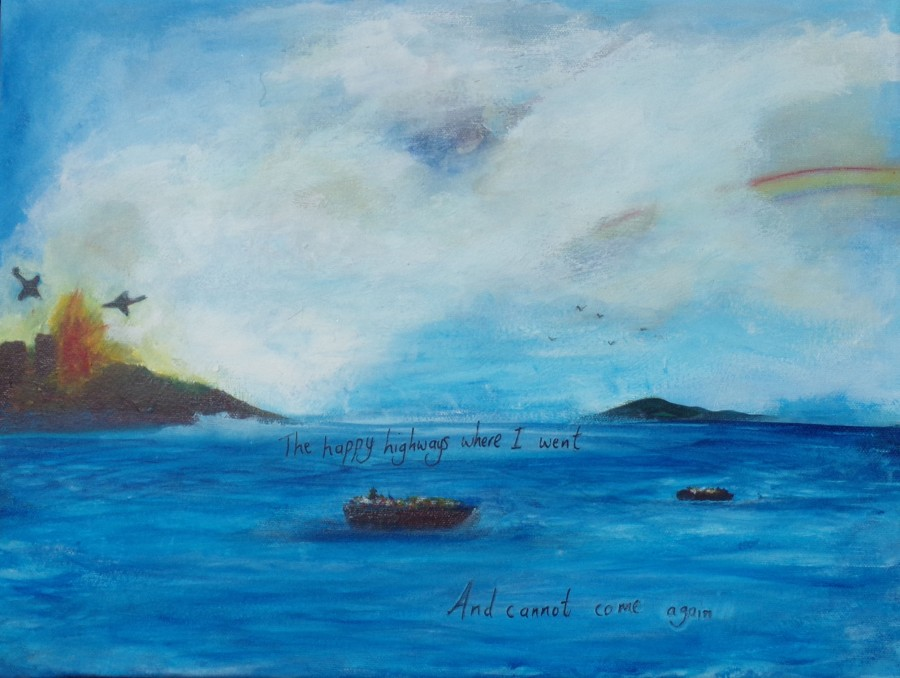 Flee to safety, acrylic painting by AnneMarie Foley
