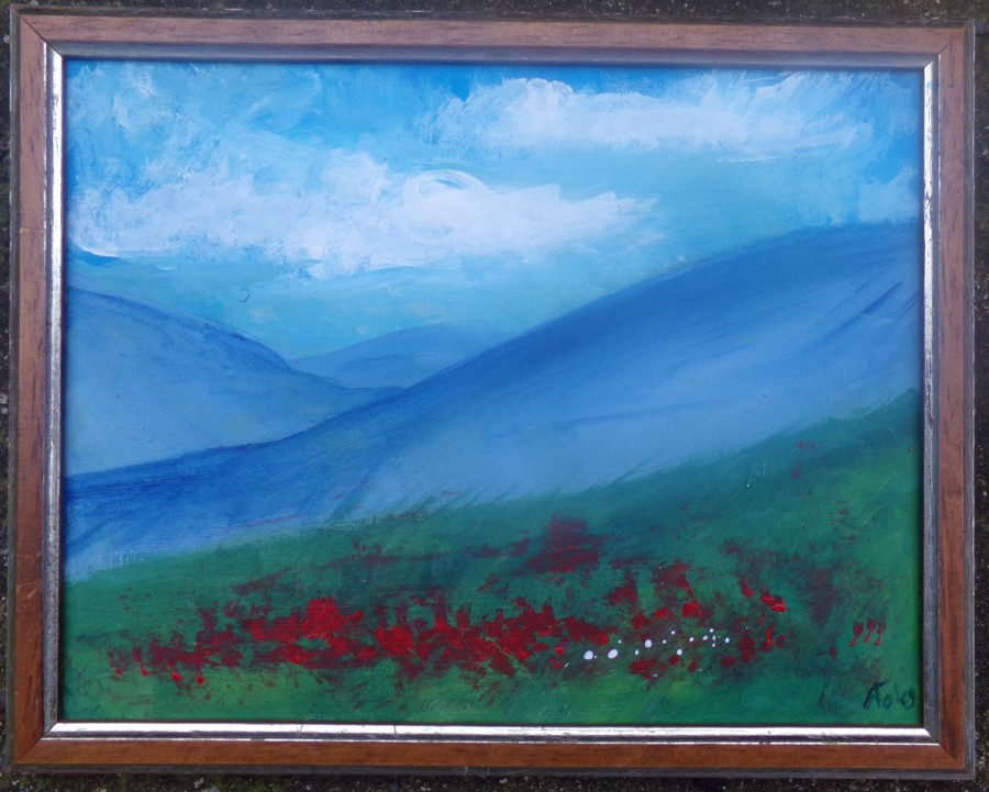 Small poppy landscape, using a salvaged frame. acrylic painting by AnneMarie Foley