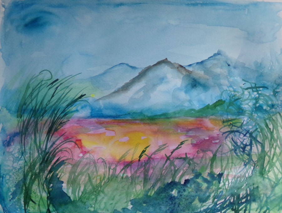 Farway country, waterclour painting by AnneMarie Foley