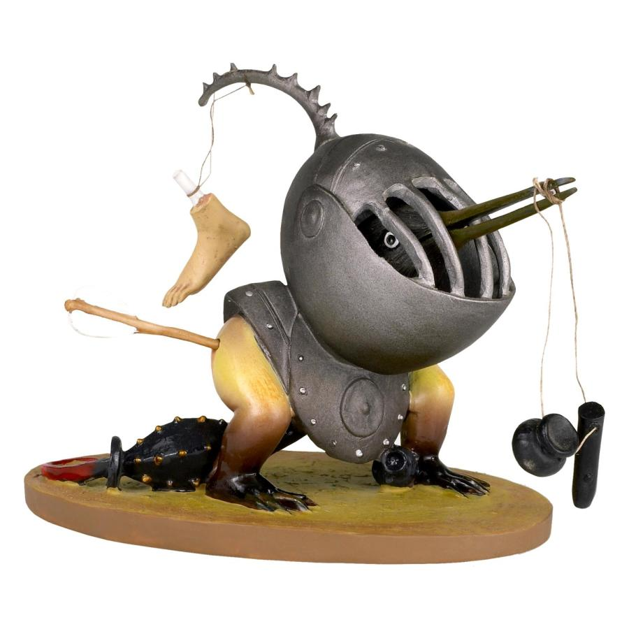 Helmeted bird monster figurine, inspired by the painting  The Garden of Earthly delights by Bosch