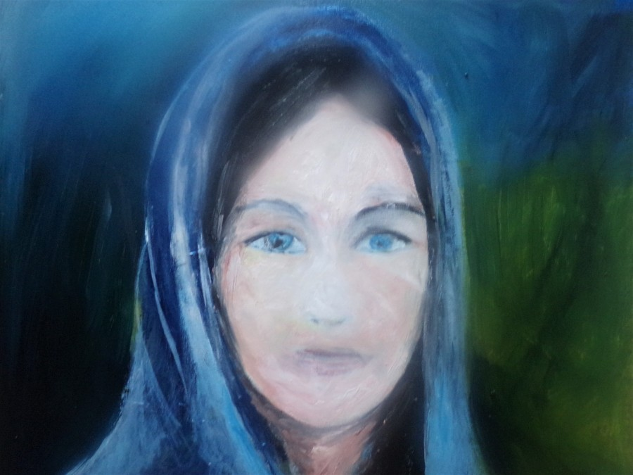 Arwen in process. oil painting by AnneMarie Foley