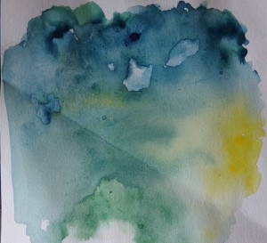 Abstract watercolour sketch, blue by AnneMarie Foley