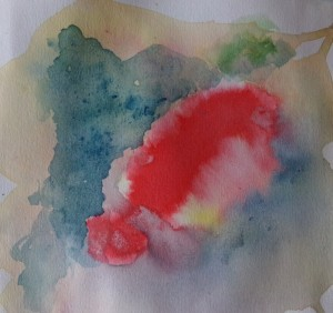 abstract watercolour sketch red by AnneMarie Foley