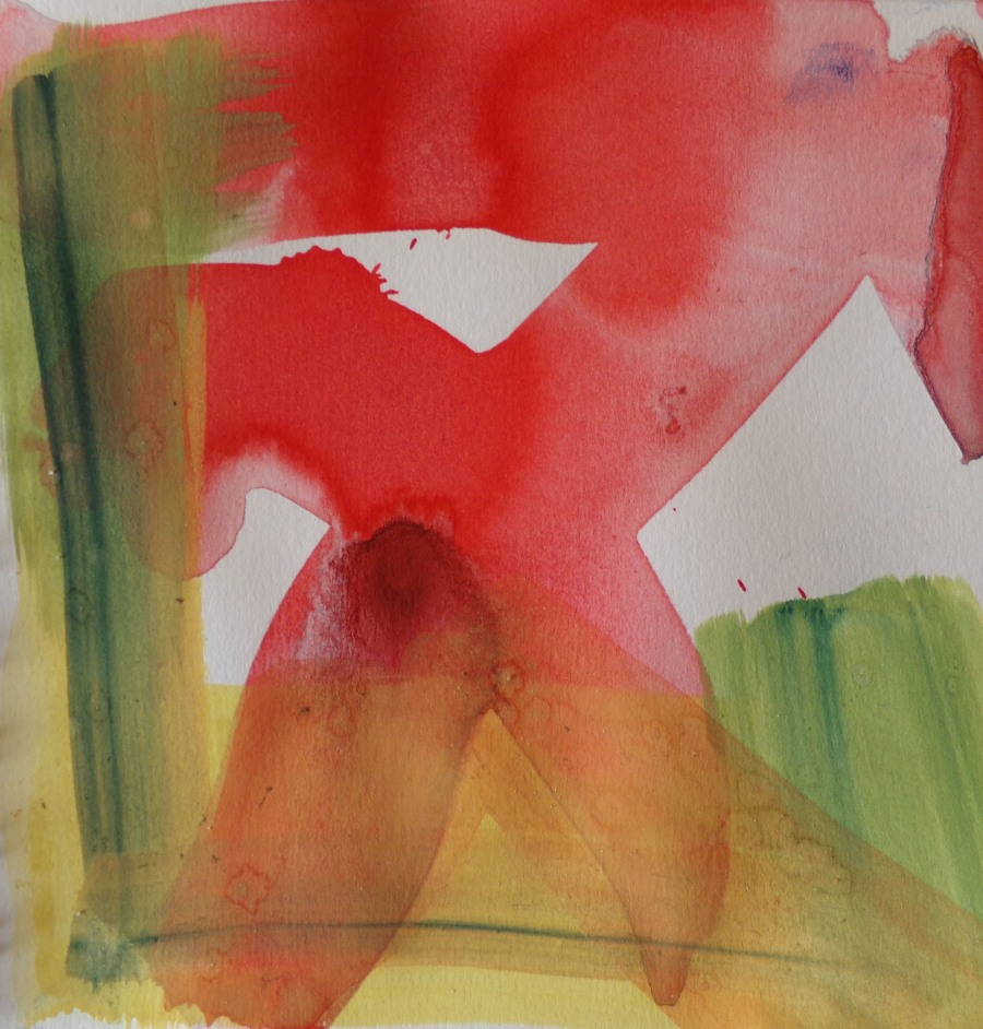 Abstract watercolour, Red Cross by AnneMarie Foley