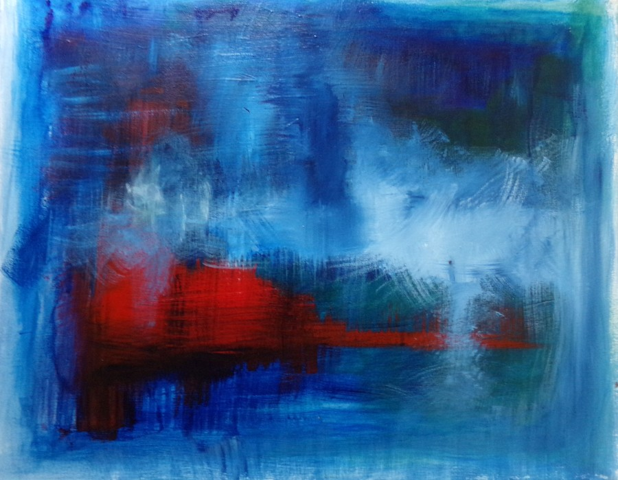 "Crimson in the water , acrylic on canvas 20 "" x 16"" painting by AnneMarie Foley"