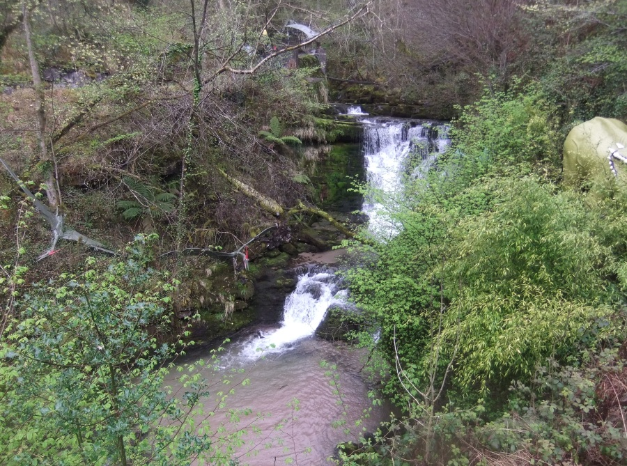 Waterfall at Dan-Yr-Ogof, Caves and dinosaur park, photograph by AnneMarie Foley