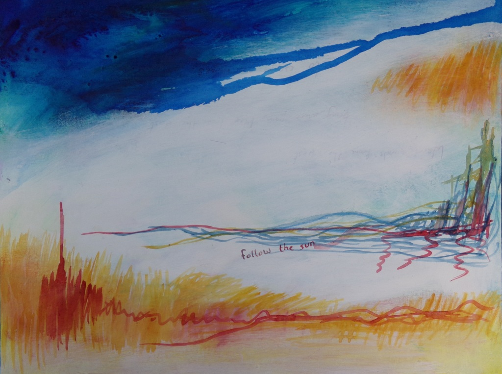 "Follow the sun, Abstract Landscape 20"" x 16"" painting by AnneMarie Foley"